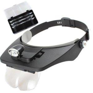 Lupa de cabeça com LED e 4 lentes